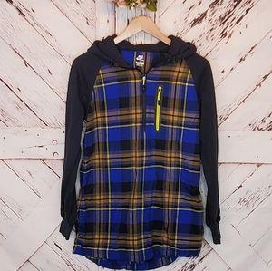 Nike Plaid Pullover Sweatshirt Hood M